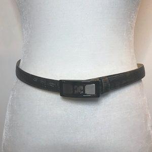 Escada Metallic Croc Embossed Gray Leather Belt